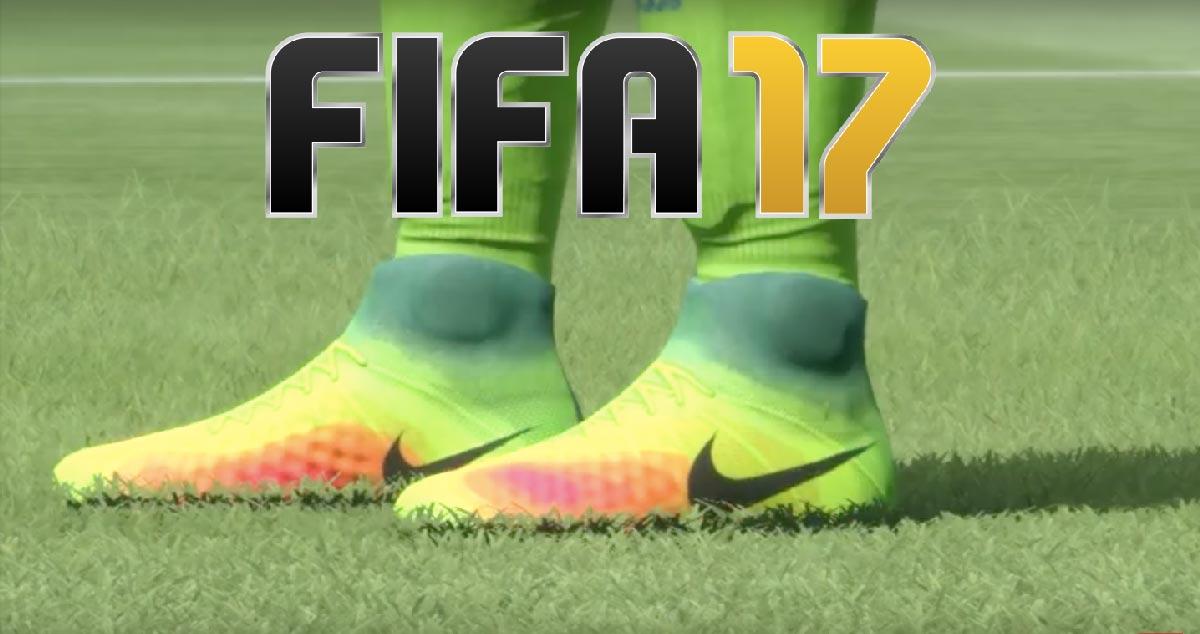 les crampons de foot présents dans le Jeu FIFA17