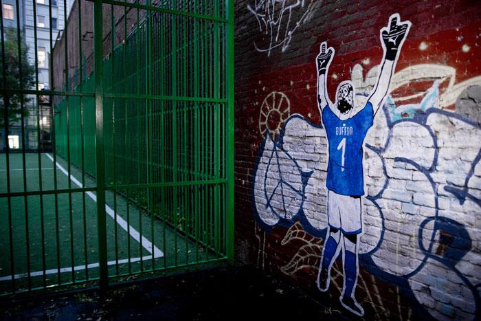 fresque street art du collectif Kamp Seedorf pour le lancement du nouveau maillot d'italie 2018
