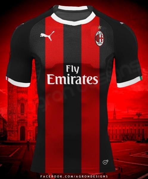 Design maillot Puma du Milan AC imaginé par AGRONDESIGNS