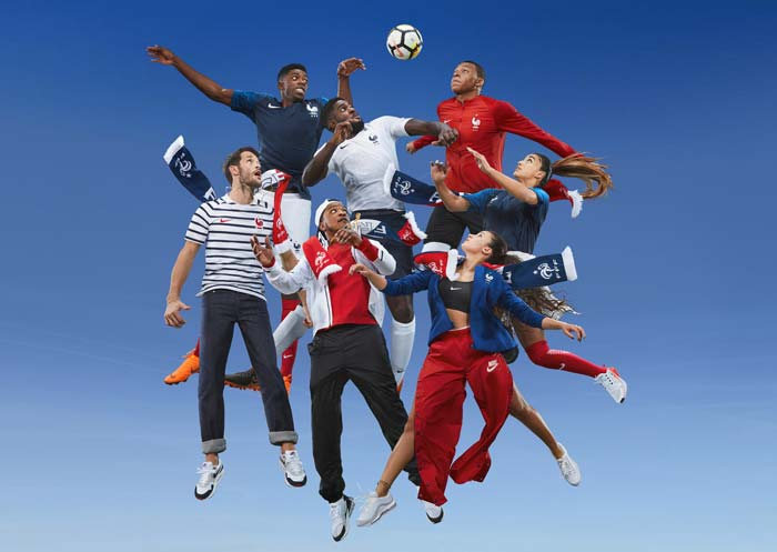 Les nouveaux maillots de l'équipe de France photographié par Jean-Paul GOUDE