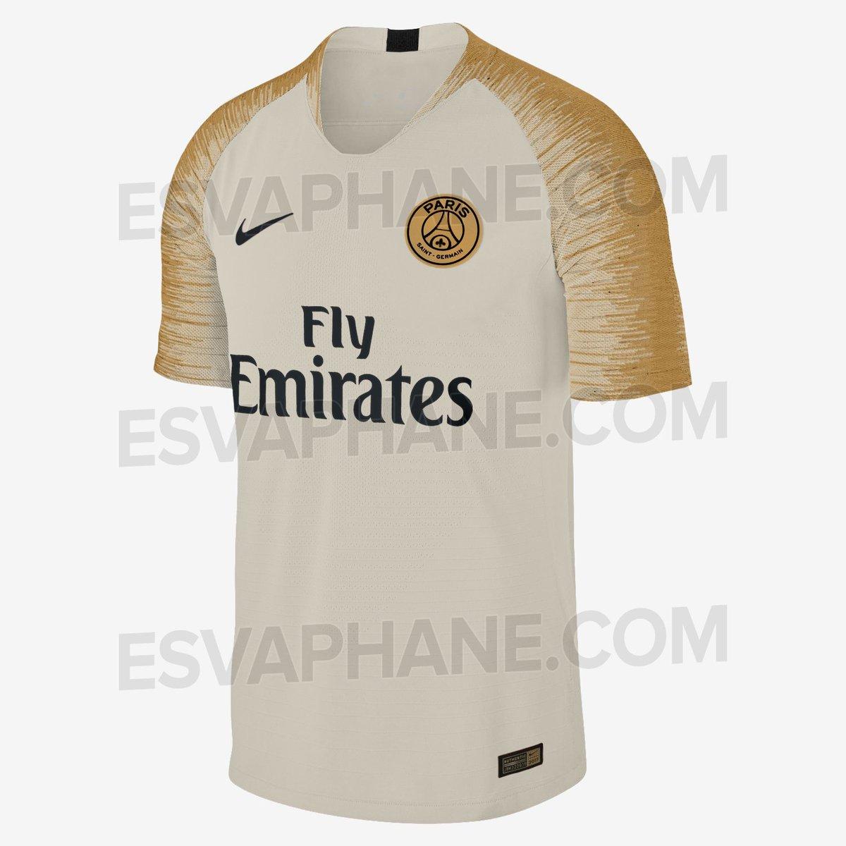 Maillot PSG Exterieur Saison 2018-2019 de couleur beige et or