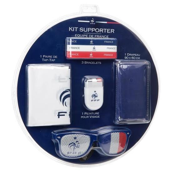 FFF Kit du supporter France - 1 peinture pour visage, 1 drapeau, 3 bracelets, 1 porte-clé, une paire de tap-tap, une paire de luneettes fantaisie