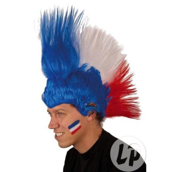 Perruque Punk cheveux aux couleurs de la France