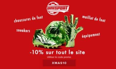 code promo unisport Xmas10