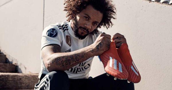 Marcelo porte les chaussures adidas X18 Exhibit
