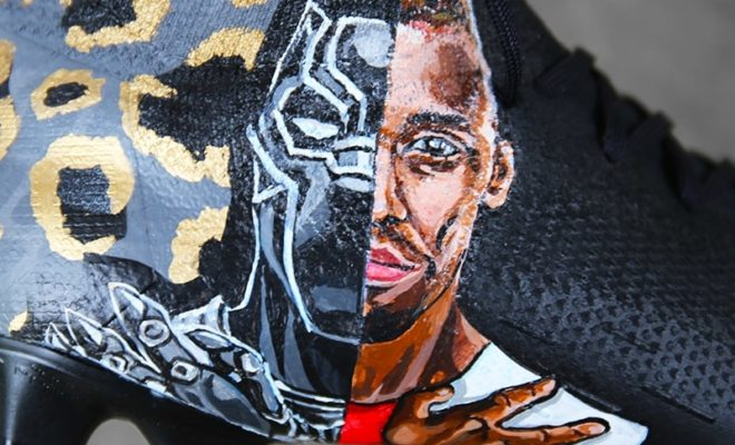 chaussures foot customisees black panther aubameyang