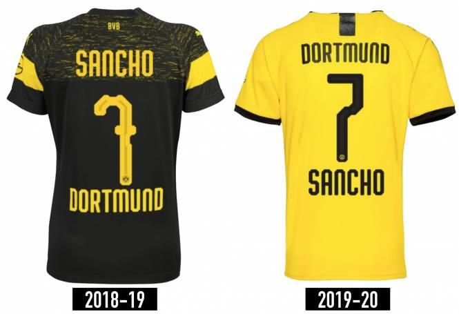 Borussia Dortmund 2019 : le nom des joueurs floqué au bas du maillot